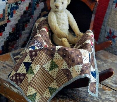 Antique 19th century Dolls Quilt Best Early Calicoes