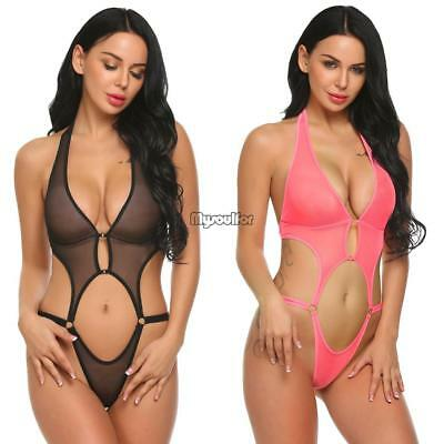 Women Deep V Halter Lingerie Sexy See Through Mesh Babydoll Mini Bodysuit MSF