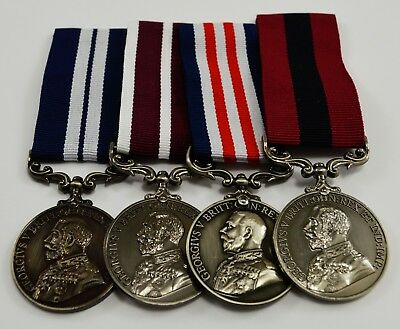Superb Set of 4 Full Size Replica WW1 George V Service Medals with Ribbons