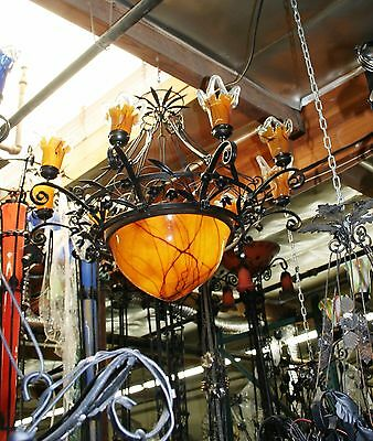 Hand Made Art Deco Style 9 Lights Wrought Iron /glass Chandelier Multicolor