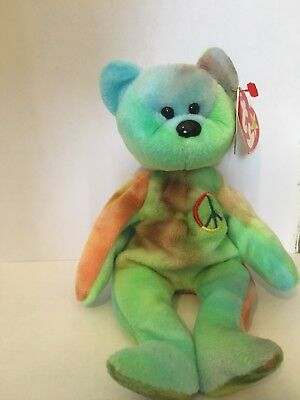 4bbf8ae2272 Extremely Rare Errors Ty Beanie Babies Peace Bear with Tag Retired Best  offer