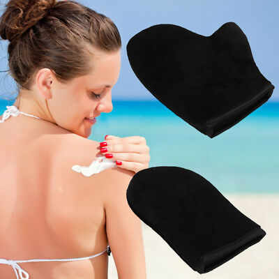 2Pcs New Self Tan Velvet Fake Tanning Mitt Glove For A Streak Free Application