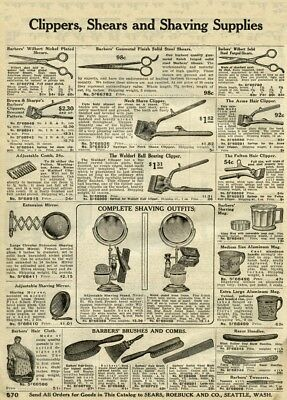 Vintage Barbershop Posters CLIPPERS, SHEARS & HAIRDRESSING ACCESSORIES, 1907