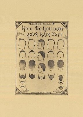 Vintage Barbershop & Salon Posters HOW DO YOU WANT YOUR HAIRCUT? America, 1890