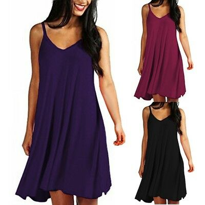 Fashion Women's Solid Casual Plain Simple Loose Summer Sling Dresses Sundress
