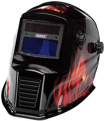 Draper Solar Powered Auto-Varioshade Welding and Grinding Helmet-Flame - 38392
