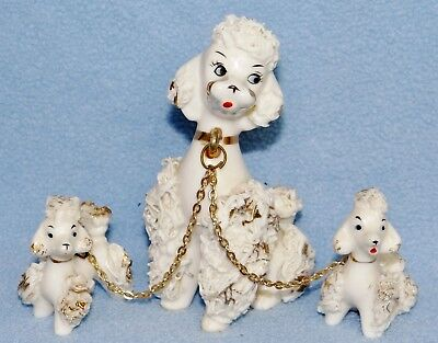 Vintage spaghetti trim poodle with pups on chain gold trim excellent condition