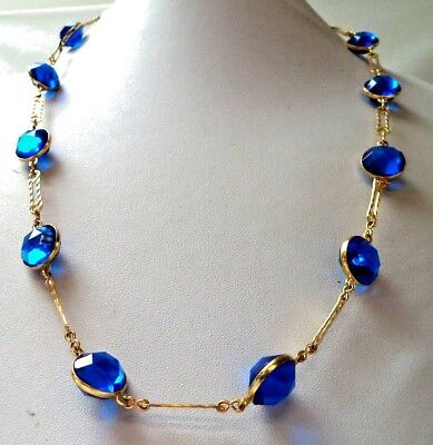 "Stunning Vintage Estate *bright* Blue Cab Gold Tone Chain 24"" Necklace!!!! 9665T"