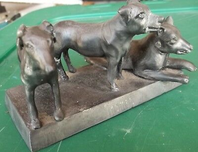 Vintage 3 Dogs Pewter Metal Paper Weight Sculpture
