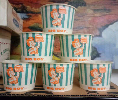 6 – Old 1950s 60s BIG BOY Ice Cream Waxed New Old Stock CUPS Soda Fountain