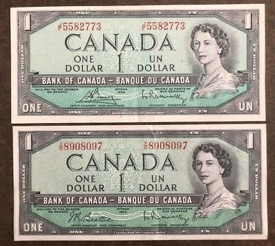 Two 1954 High Grade $1 Bank of Canada Notes - No Reserve