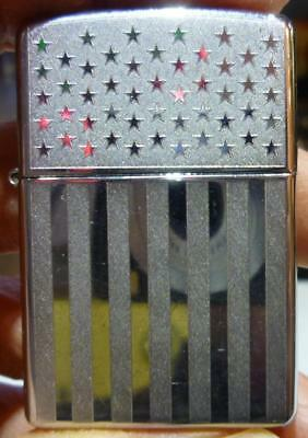 2003 Zippo Chrome Stars and Stripes Lighter, No Flint Screw, Nice Condition.