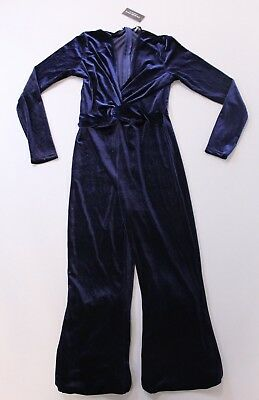6b4ca934cfd6 Fashion Nova Women s Jump In The Cadillac Velvet Jumpsuit HD3 Navy Large NWT