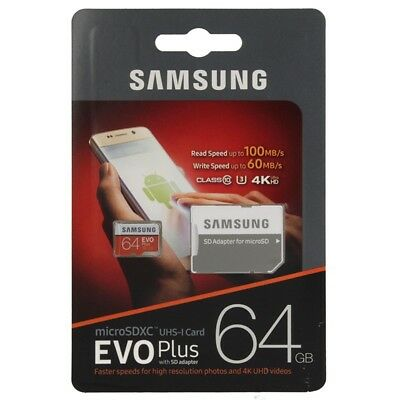 Samsung Micro SD EVO Plus 64GB Classe 10 + U3 SD Adapter UHS-I SDHC 4K 100MB