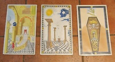 Set Of 3 Vintage Small Masonic Loi Tracing Boards Lodge Of Instruction