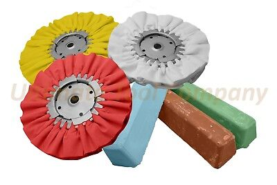 6pc Buffing Wheel & Polishing Kit Brown Compound Green Auto Detail Airway Luster