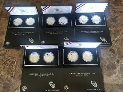 2018 World War I Centennial Proof Silver Coin and Service Medal Set - ALL 5 WWI