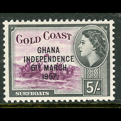 GHANA 1957-58 Independence. 5s Purple & Black. SG 180. Mint Never Hinged.(AB679)