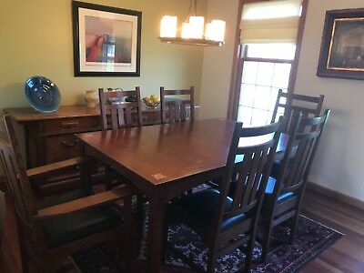 Stickley Harvey Ellis Mission Oak Dining set with Inlay