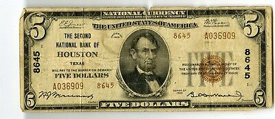 1929 $5 Second National Bank Of Houston Texas