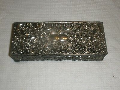 GODINGER SILVER Art Co Silver Plated Ornate Jewelry Box 1992