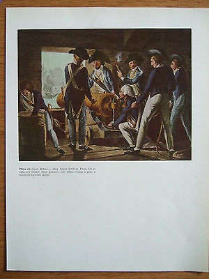 Vintage Military Print-  Naval Artillery- Great Britain C 1803