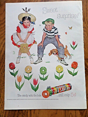 1952 Life Savers Candy Ad Little boy & girl    Sweet Surprise