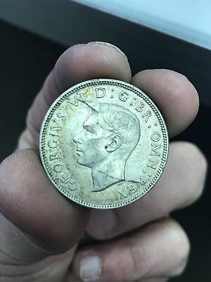 1943 Great Britain UK Florin 1 Shillings Silver Coin - VG Conditions