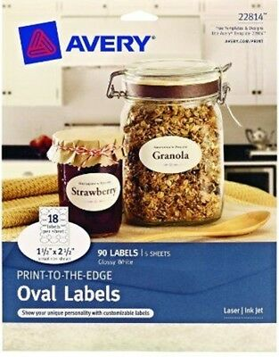Avery Print-to-the-Edge Oval Labels, Glossy White, 1.5 x 2.5-Inches, Pack of 90