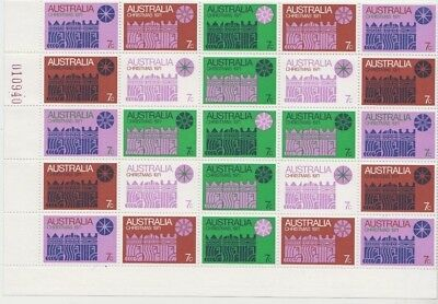 Christmas stamps Australia 1971 white paper in block of 25 showing green cross
