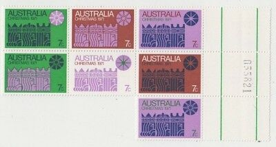 Christmas stamps Australia 1971 block of 7 cream paper with gutter & number