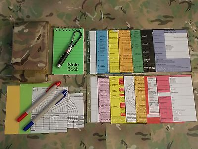 Commanders Aide Memoire Crib Cards x 14, with Multicam MTP Pouch Army NCO