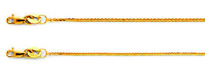 Solid 14K Yellow Gold DC Wheat Foxtail Spiga Chain Necklace