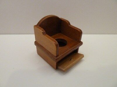 Dolls House Miniature 1:12 Scale Bathroom Furniture Old Fashioned Walnut Potty