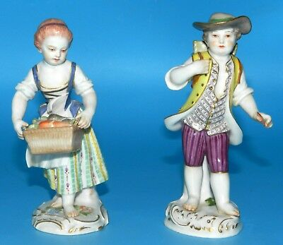 Meissen Germany Blue Cross Swords Antique Pair Of Figurine Man & Woman Rare
