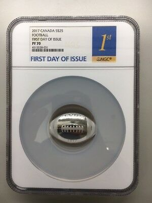 2017 Canada $25 Football First Day Of Issue FDOI NGC PF70