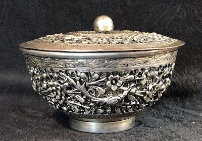 CAMBODIAN Burmese Thai Hand Repousse Solid Silver THABEIK High Relief Sugar Bowl
