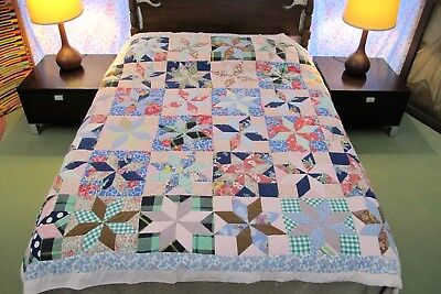 """FOR RESTORATION Colorful Vintage Feed Sack Cotton Hand Sewn STAR QUILT 81"""" x 74"""""""