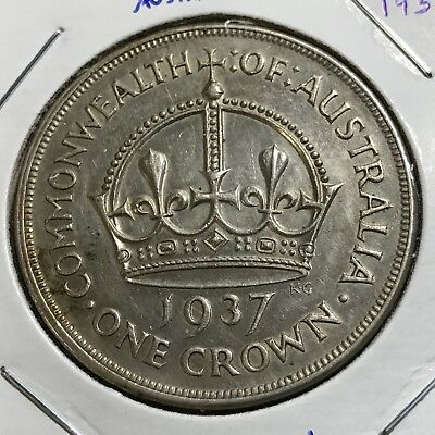 Australia 1937 Silver One Crown Higher Grade Coin
