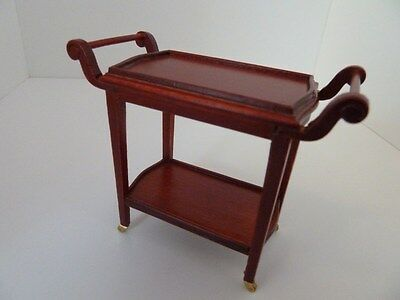 Dolls House Miniature 1:12 Scale Furniture Dining Room Mahogany Serving Trolley