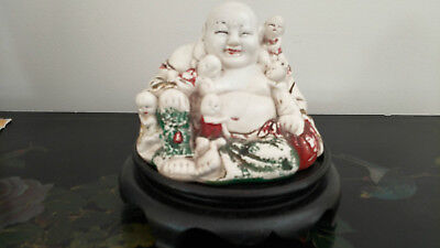 Fine Old Signed Chinese Republic Period Buddha Porcelain Statue