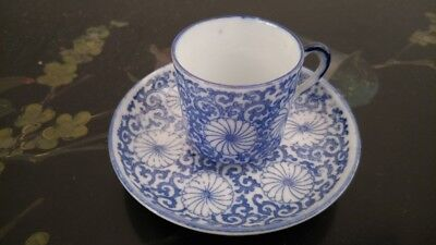 High Quality Japanese Antique Hand Painted Blue & White Cup ,Saucer Set