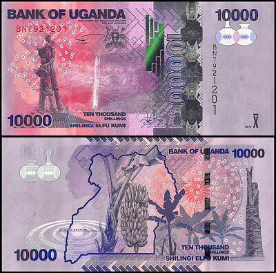 Uganda 10,000 (10000) Shillings Banknote, 2017, P-NEW, UNC, Waterfall, Statue