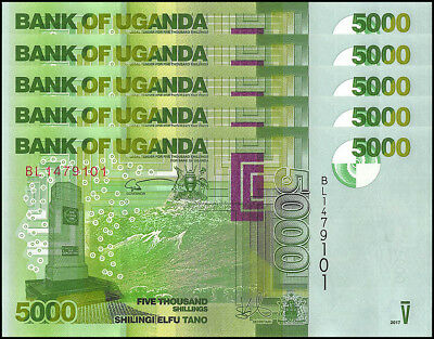 Uganda 5,000 - 5000 Shillings X 5 Pieces - PCS, 2017, P-51, UNC,Bird, Mountains