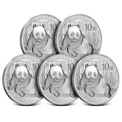 Lot of 5 - 2015 China 1 oz 10 Yuan .999 Fine Silver Panda Coin Gem BU in Cap