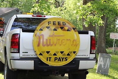 SCARCE 1950's NUTRENA FEED BUBBLE BUTTON  EMBOSSED METAL SIGN SEED CORN FARM