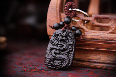 Ebony Wood Carving Chinese Dragon Statue Sculpture Pendant Key Chain