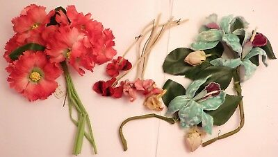 Vintage Silk & Velvet Flowers Millinery Hat Ornament Corsage Iris & Poppy More