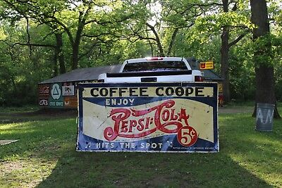 Scarce 1926 Huge Pepsi Cola Double Dot 5 Cent Embossed Metal Sign Coffee Coope