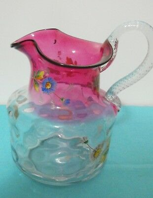 Beautiful Hand Enameled Cranberry and Clear Pitcher